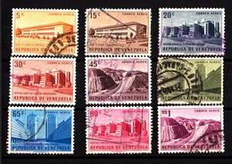 Venezuela, 1957- Public Works.- Correo Aereo. Lot Of Nine Stamps Cancelled NH - Venezuela