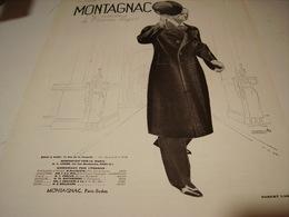 ANCIENNE PUBLICITE VETEMENT PARDESSUS MONTAGNAC 1931 - Habits & Linge D'époque