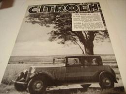 ANCIENNE PUBLICITE VEHICULE CITROEN C4G ET C6G 1931 - Voitures