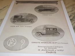 ANCIENNE PUBLICITE VOITURE TORPEDO PANHARD 1919 - Voitures