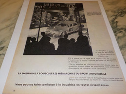 ANCIENNE PUBLICITE VOITURE DAUPHINE SPORT RENAULT 1958 - Voitures