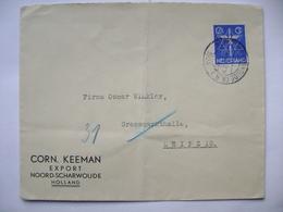 Netherlands Cover 1933 Corn. Keeman Export NOORD-SCHARWOUDE - To Leipzig Germany, 12 1/2 Ct. - Periode 1891-1948 (Wilhelmina)