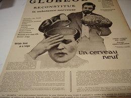 ANCIENNE PUBLICITE CERVEAU NEUF AVEC  GLOBEOL   1915 - Publicités