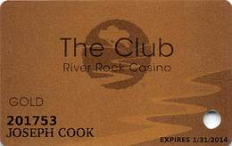 River Rock Casino - Alexander Valley, CA USA - Gold Slot Card - Casino Cards