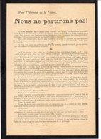 """Militaria.Guerre 1914 18 / Déclaration à Henriot De Paul Doncoeur,pour L'Honneur De La France """"Nous Ne Partirons Pas !"""" - Documents"""