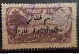 NO11 56 - Lebanon 1932 Cedar & Landscape Design Fiscal 5p Grey Lilac Ovptd Droit Judiciaire Revenue Stamp (Justice) - Lebanon