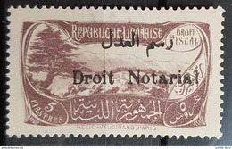NO11 50 - Lebanon 1931 Cedar & Landscape Design Fiscal 5p Grey Ovptd Droit Notarial Revenue Stamp - Lebanon
