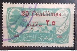 NO11 84 - Lebanon 1931 Cedar & Landscape Design 50c Green Ovptd 25 Centiemes Fiscal Revenue Stamp - Lebanon