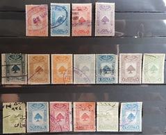NO11 - Lebanon 1930s Cedar Design 17 Diff Fiscal Revenue Stamps - Lebanon