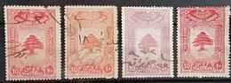NO11 - Lebanon 1930s Cedar Design 10p 4 Diff Fiscal Revenue Stamps - Lebanon