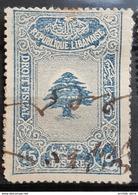 NO11 #106 - Lebanon 1933 Cedar Design 15p Blue Fiscal Revenue Stamp - Lebanon
