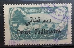 NO11 58 - Lebanon 1932 Cedar & Landscape Design Fiscal 15p Blue Grey Ovptd Droit Judiciaire Revenue Stamp (Justice) - Lebanon