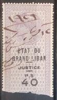 NO11 - Lebanon ETAT DU GRAND LIBAN 1923 Justice Revenue Stamp PS 40 Violet Sold As Is - Lebanon