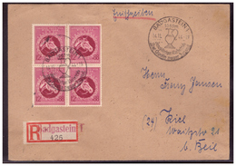 Dt.- Reich (006396) Einschreiben Mitr 4 X MNR 901 Mit Not- R- Zettel Badgastein Gelaufen Mit Sonderstempel Am 14.11.1944 - Deutschland