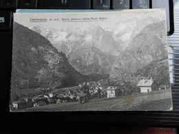 19691) COURMAYEUR SFONDO GHIACCIAI MONTE BIANCO PUBBLICITARIA COMMESTIBILI ROVEJAZ VIAGGIATA 1931 BOLLO ASPORTATO - Italia