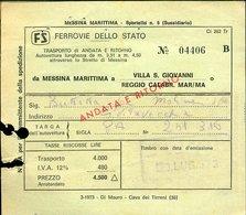 149 FERROVIE DELLO STATO BIGLIETTO MESSINA VILLA S. GIOVANNI A/R - Biglietti Di Trasporto