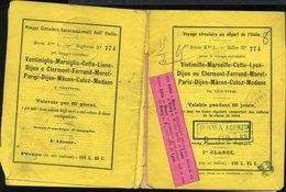 150 BIGLIETTO 1888 VIAGGIO CIRCOLARE DALL'ITALIA VENTIMIGLIA MARSIGLIA PARIGI MODANE CON MAPPA - Biglietti Di Trasporto