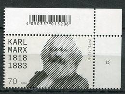 """Germany 2018 Michel Nr.3384 """"200.Geburtstag Von Karl Marx,"""" 1 Wert Mit EAN Code,neufs, ** MNH Postf.-mint - Karl Marx"""
