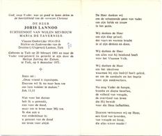 Devotie - Doodsprentje Overlijden - Oudstrijder - Stichter Drukkerij - Joris Lannoo - Tielt 1891 - 1971 - Avvisi Di Necrologio