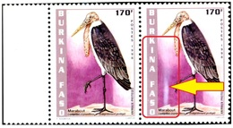 ENDANGERED BIRDS- MARABOU STORK-HORIZONTAL PAIR- BURKINA FASO-1998-SCARCE-MNH- H-578 - Autruches