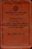 154 FERROVIA DELLO STATO  REGNO TESSERA PER ABBONAMENTI SETTIMANALI S. ANGELO A CUPOLO BENEVENTO - Abonnements Hebdomadaires & Mensuels