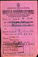 157 TESSERA FERROVIE DELLO STATO 1943 PER ABBONAMENTO SETTIMANALE CHIANCHE CEPPALONI - BENEVENTO - Abonnements Hebdomadaires & Mensuels