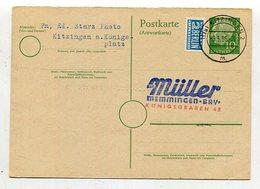 Bundesrepublik Deutschland / 1956 / Postkarte Mi. P 28A (Antwortteil) Steg-Stempel Kitzingen (27456) - BRD