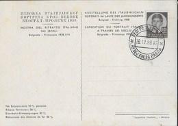 STORIA POSTALE JUGOSLAVIA - BELGRADO 28.04.1938 - MOSTRA DEL RITRATTO ITALIANO SU CARTOLINA - 1931-1941 Kingdom Of Yugoslavia