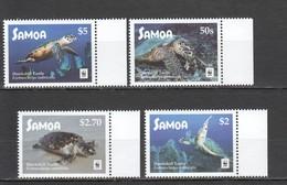 T118 2016 SAMOA WWF FAUNA REPTILES MARINE LIFE HAWKSBILL TURTLES 1SET MNH - W.W.F.