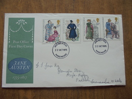 S064: FDC: JANE AUSTEN 1775-1817 8.5p, 10p, 11p, 13p. First Day Of Issue 22 OCT 1975 Manchester. - FDC