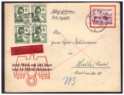Dt.- Reich (006403) WHW Werbebrief Express Vorgedruckt, Gelaufen Mit Viererblock MNR 644 Und 659 Von Halle Am 18.5.1938 - Deutschland