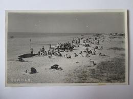 Ukraine-Historical Romania Basarabia/Burnas(Cetatea Alba),The Beach/Plaja,unused Photo Postcard From 1936 - Ukraine