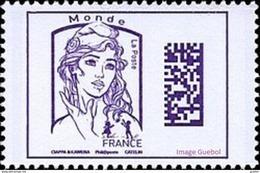France Marianne De La Jeunesse Par Ciappa Et Kawena N° 5020 ** Datamatrix Monde (Violet) - 2013-... Marianne Of Ciappa-Kawena