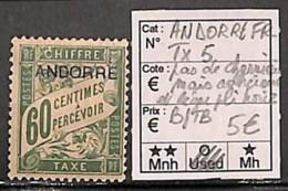 [814420]Andorre Français  - TX5, 60c Taxe, Pas De Charnière Mais Adhérence Et Léger Pli Horizontal, Très Beau D'aspect - Timbres-taxe