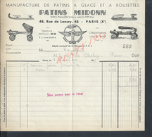 FACTURE ILLUSTRÉE DE 1937 PATINS MIDONN MANNUFACTURE DE PATINS A GLACE & ROULETTES À PARIS RUE DE LANCRY : - France