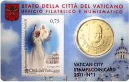 VATICANO-Stamp & Coin Card 2011 BEATIFICAZIONE DI GIOVANNI PAOLO II - Vaticano