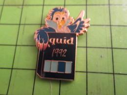 718b Pin's Pins : Rare Et Belle Qualité : THEME MEDIAS : LIVRE ENCYCLOPEDIE LE QUID 1992 CHOUETTE HIBOU OISEAU - Medias