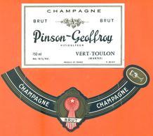 étiquette + Collerette De Champagne Brut Pinson Geoffroy à Vert Toulon - 75 Cl - Champagne