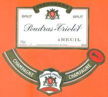 étiquette + Collerette De Champagne Brut Poudras Triolet à Reuil - 75 Cl - Champagne