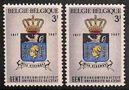 D - [205223]BELGIQUE 1967 - N° 1434-cur, Armoiries De Gent, Légende Et 'F' Dans La Marge Droite, Décalage, 2 Variantes E - Abarten Und Kuriositäten