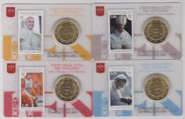 2015.Vaticano.4 Stamp Coin Card N°6-7-8-9. Pontificato Papa Pope Francesco.Con 50 Cent. - Vaticano