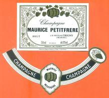 étiquette + Collerette De Champagne Brut Maurice Petitfrère à Saint Nicolas Trigny - 75 Cl - Champagne