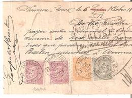 MANDAT De 10000frs TP. PERF. N°63-65-67(2) Càd ANVERS  4/11/1905 Affr. RARE De 5,50Fr Voir Dos - 1893-1900 Schmaler Bart