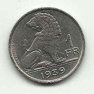 1939 - Belgio 1 Franc - 1934-1945: Leopoldo III