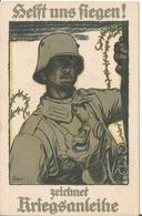 Carte Postale Allemande WW I , Soldat Casque Et Masque à Gaz .  Stahlhelm . - War 1914-18