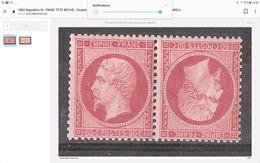 PAIRE TETE BECHE , Empire N° 24 , 80, C Rose Neuve ** / MNH, Signée  ,SUPERBE - 1862 Napoléon III