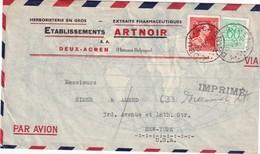BELGIQUE 1957 PLI AERIEN DE DEUX-ACREN POUR NEW-YORK - Lettres & Documents