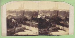 CHARTRES Vers 1860 : Jardins Et Faubourg  Devant La Cathédrale. Photo Stéréoscopique. 2 Scans. - Photos Stéréoscopiques