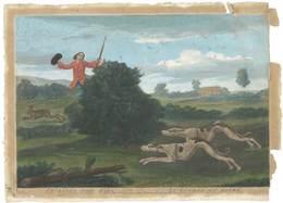 Grand Feuillet Chasse Au Lièvre / Coursing The Hare, Chiens Lévriers ( - Vieux Papiers