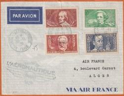 France Poste Aérienne , Lettre Avec Cachet Salon De L'Aéronautique Et Série 330 A 333 Sur Lettre Pour Alger - 1927-1959 Cartas